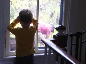 Jonah has enjoyed watching the demolition.