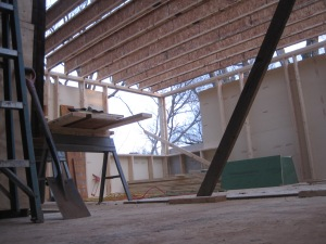 View of the first floor with joists above